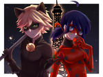 [Collab] Romantic night..? - LadyBug and ChatNoir by May-Itou