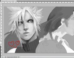 WIP Cloud Strife and ..Tifa? by ilaBarattolo