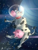 Spitpaint spacecow by JONATHAN787