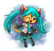 Hatsune Miku cat by leamatte