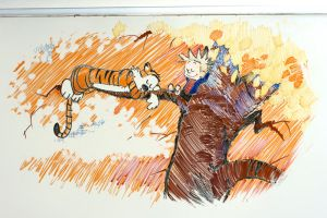 Calvin and Hobbes in Dry Erase by mybearjana