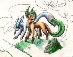 Leafeon and Glaceon -OLD- by Rijolt