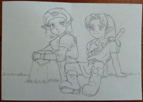 Young Zelda and Link - Lineart by tite-pao
