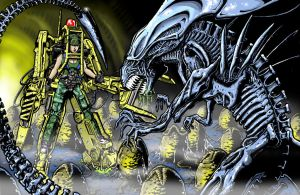 Queen Alien vs Space Marine by Kapow2003