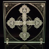 Spiral Cross etched art glass by ImaginedGlass