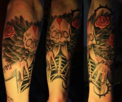 in flames skull tattoo by Unibody