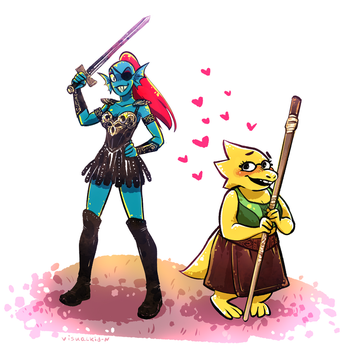 Undyne-Xena and Alphys-Gabrielle by visualkid-n