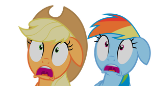 Apple Jack and Rainbow Dash Scared Witless (No BG) by liamwhite1