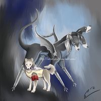 P3 - Koromaru and Cerberus by Aerolyx