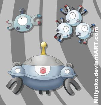 Magnemite Magneton and Magnezone by Millyoko
