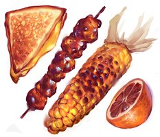 Orange set of foodstuffs by Vetyr