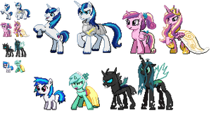 Ponymon : Cadence Shining Armor Changeling Etc by DMN666