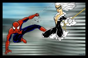 Spidey and Black Cat Colored by RightHandOfDoom
