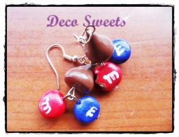 kisses and mnm's earrings by KIMoabe