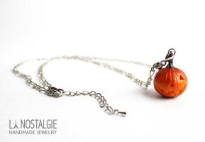 Beautiful Pumpkin Jack O lantern pendant necklace by LaNostalgie05
