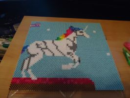 Rainbow Unicorn Attack in perler beads by Ebion