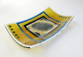 Fractal Fused Glass Dish by trilobiteglassworks