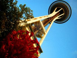 Chihuly Sculpture with Space Needle by Sing-Down-The-Moon