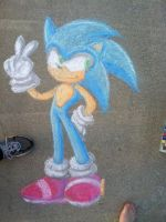 Sonic the Chalk Drawing by rinkunokoisuru