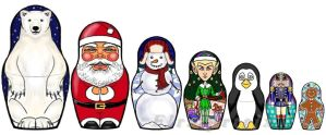 christmas matryoshka set phone drawing by Flrmprtrix