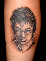 Harry Potter portrait tattoo by danktat