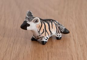 Aardwolf animal totem, polymer clay by lifedancecreations