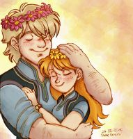 Kristoff and Anna Flowercrowns by Yamatoking