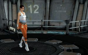 Chell on the Ship by silverhammer