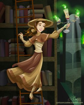 Belle and the Mystical Library by racookie3