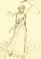 Lady With Parasol Sketch by Muirin007