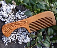 Wooden Hair Comb by Kotka666