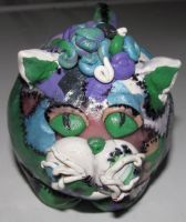 Clay critter larger patchwork cat by metalpug