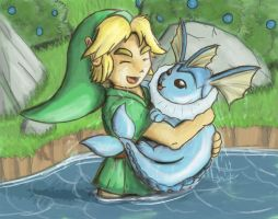 What a Catch! - Vaporeon and Link by Jo-Onis