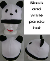 black and white panda hat by wolffang56