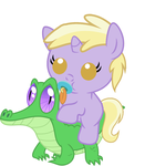 Dinky Hooves riding Gummy by red4567-2