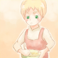 Chibi Arthur cooking by tinyness