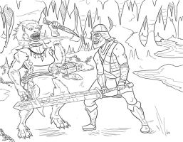 Beowulf Vs Grendels Mom by Dragon-Storm