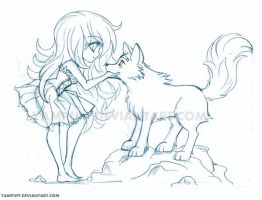 Tracy Chibi with Wolf Commission - Sketch by YamPuff