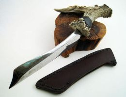 Ebony and Antler railroad spike knife by FearghalBlades
