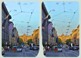 Munich, Maximilian Avenue 3D ::: HDR Cross Eye by zour
