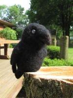 Edgar the Common Raven - Needle Felt Finger Puppet by RRedolfi