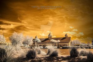 Golden Infrared Church by TabithaS-Photography
