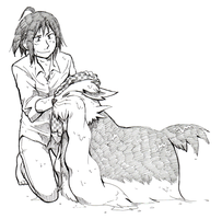 Wet dog and its trainer by jawazcript