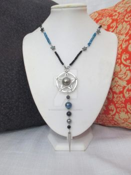 Pentacle and Stars OOAK Beaded Statement Necklace by TanzenLilly