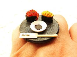 Tobiko Uni Sushi Ring by souzoucreations