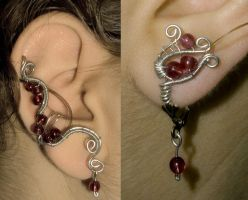 Matching earring and ear cuff by Orokashii