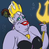 Ursula the sea witch, and her prey. by CecaeliaFanatic