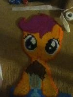 Scootaloo Drinking Root Beer Ironed Bead Sprite by bashfluffbeads