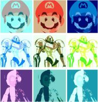 Super Mario,Samus Aran, and Megaman Pop Art by DevintheCool