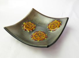 Influenza Virus Fused Glass Dish by trilobiteglassworks